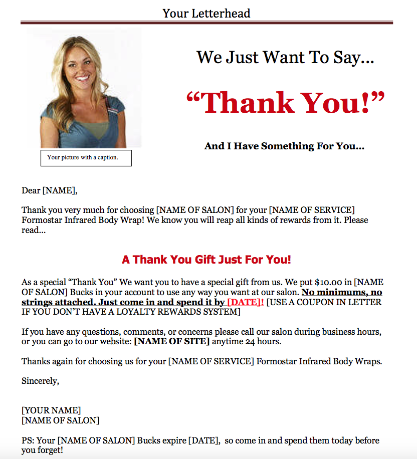 Salon Thank You Letter Examples Amazing Prospecting And Marketing